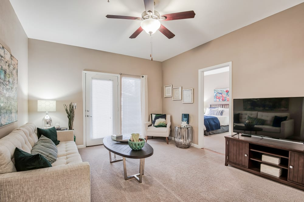 Spacious Living Room at Cornerstone Apartments in Independence, Missouri