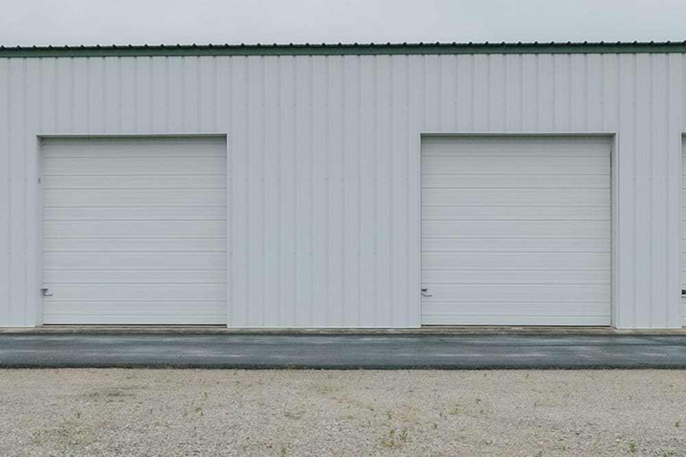 White doors on exterior self storage units at StayLock Storage in Muncie, Indiana