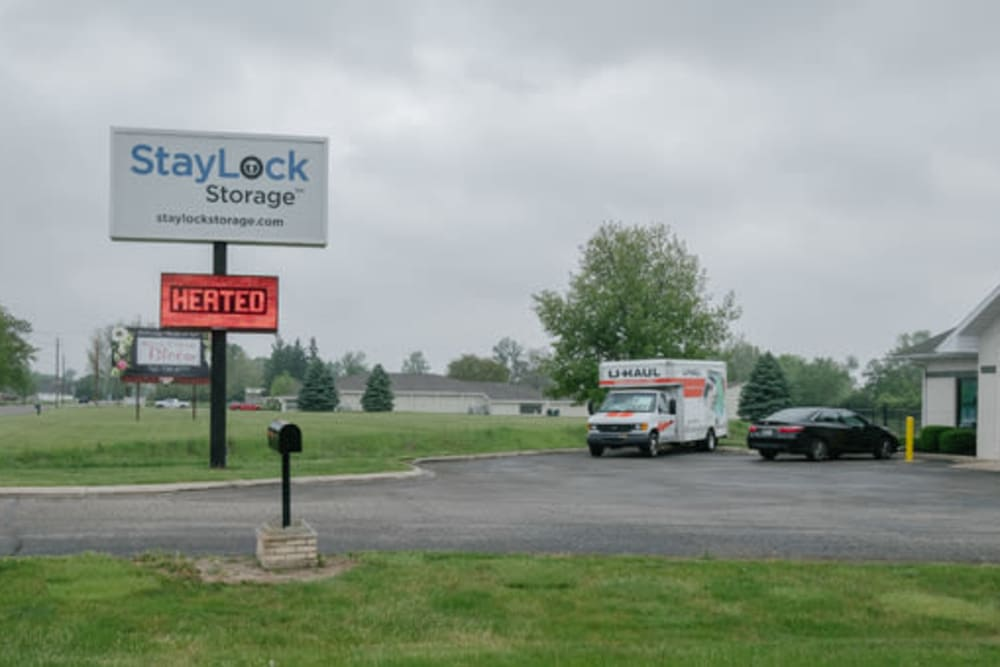 The front sign and entrance at StayLock Storage in Muncie, Indiana