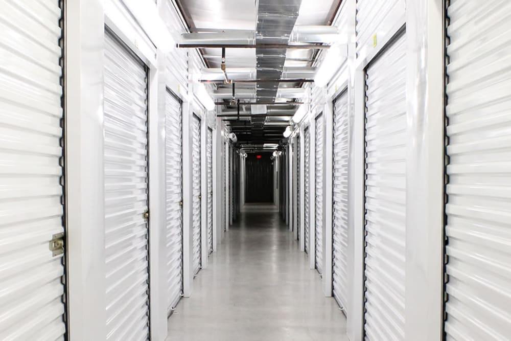 White doors on self storage units at StayLock Storage in Muncie, Indiana