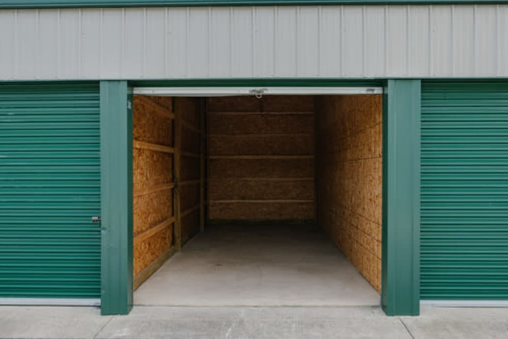 Looking into a storage unit at StayLock Storage in Middlebury, Indiana