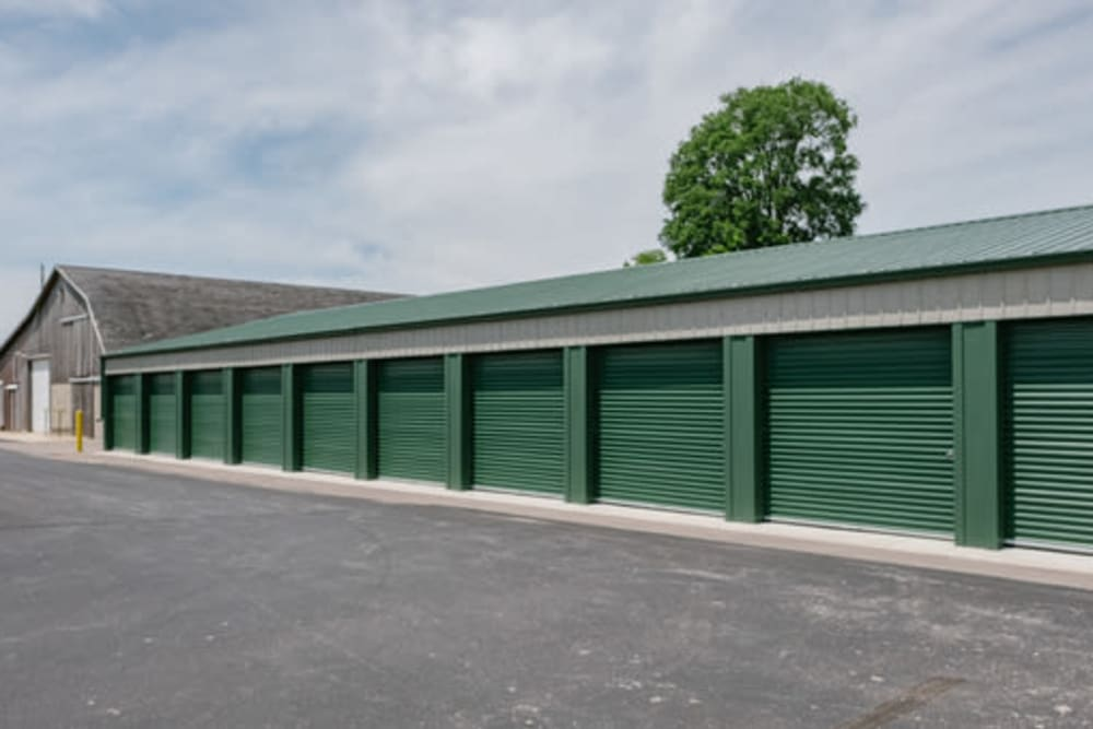 A row of exterior storage units at StayLock Storage in Middlebury, Indiana