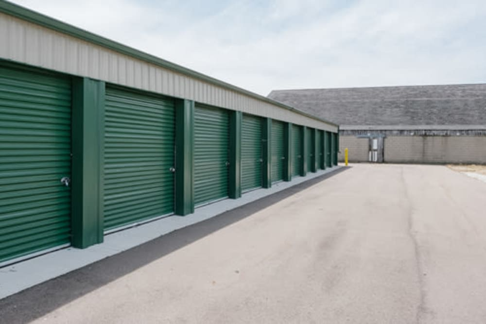 Clean green doors on self storage units at StayLock Storage in Middlebury, Indiana