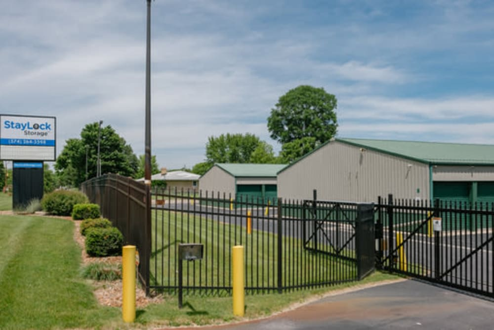 The gated entrance to StayLock Storage in Middlebury, Indiana