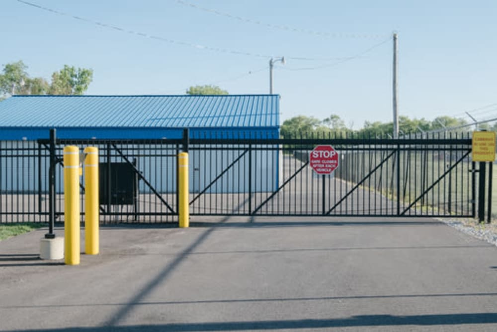The gate at the entrance of StayLock Storage in Frankfort, Indiana