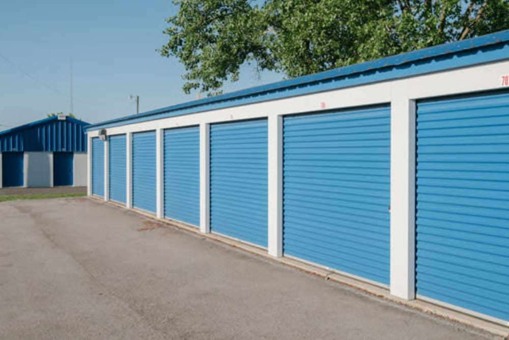 Blue doors on storage units at StayLock Storage in Frankfort, Indiana