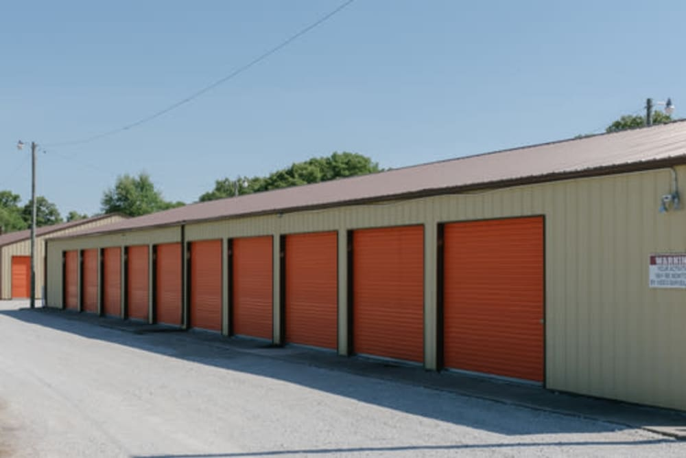 A row of storage units at StayLock Storage in Wheatfield, Indiana