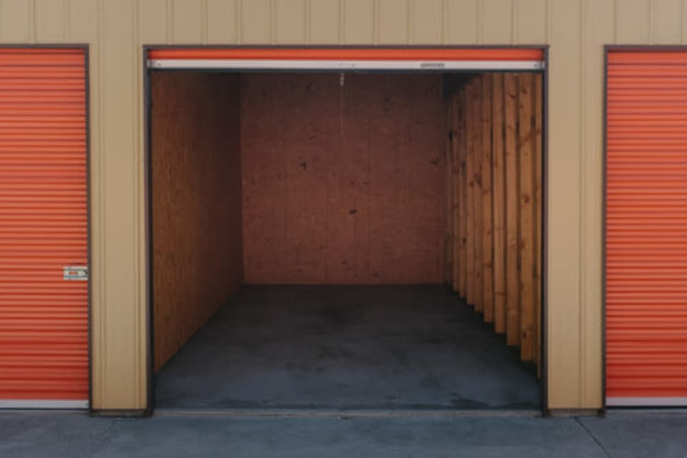 A view inside of a storage unit with the door up at StayLock Storage in Wheatfield, Indiana