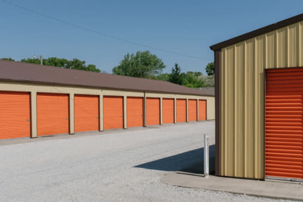 A driveway between storage units at StayLock Storage in Wheatfield, Indiana