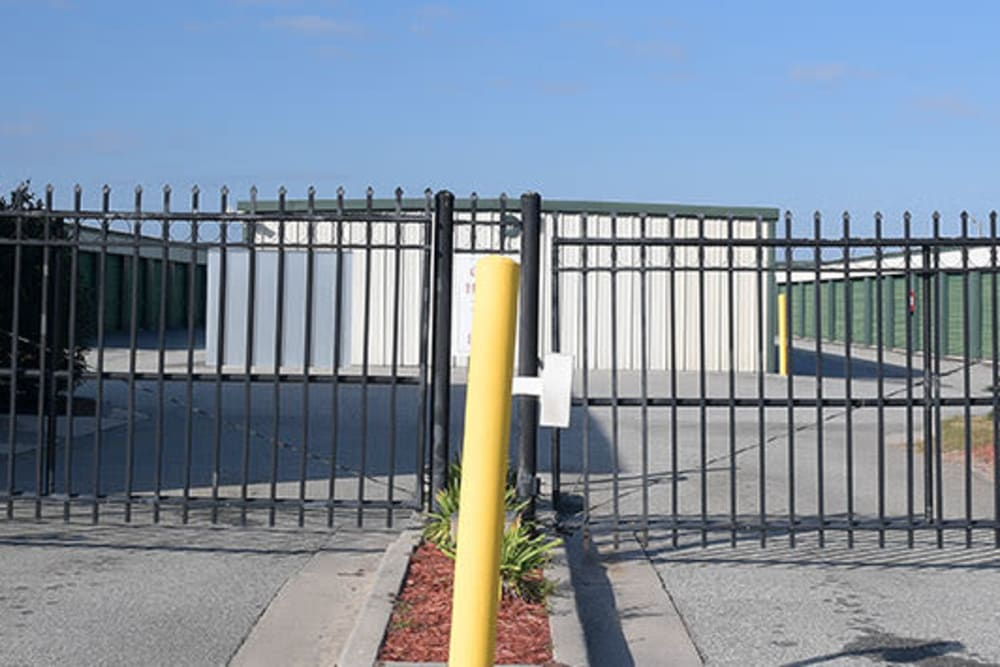 The gate at the front entrance of StayLock Storage in Valdosta, Georgia