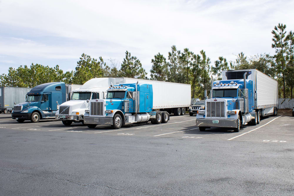 Blue trucks parked at Atlantic Self Storage in Jacksonville, Florida
