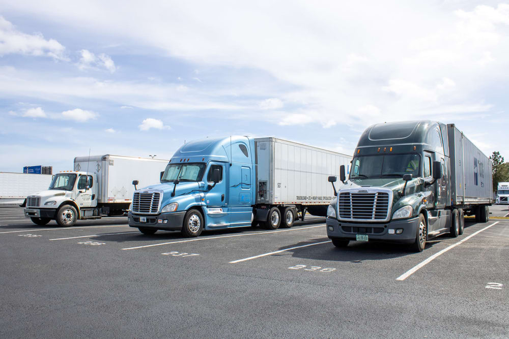 Trucks parked at Atlantic Self Storage in Jacksonville, Florida