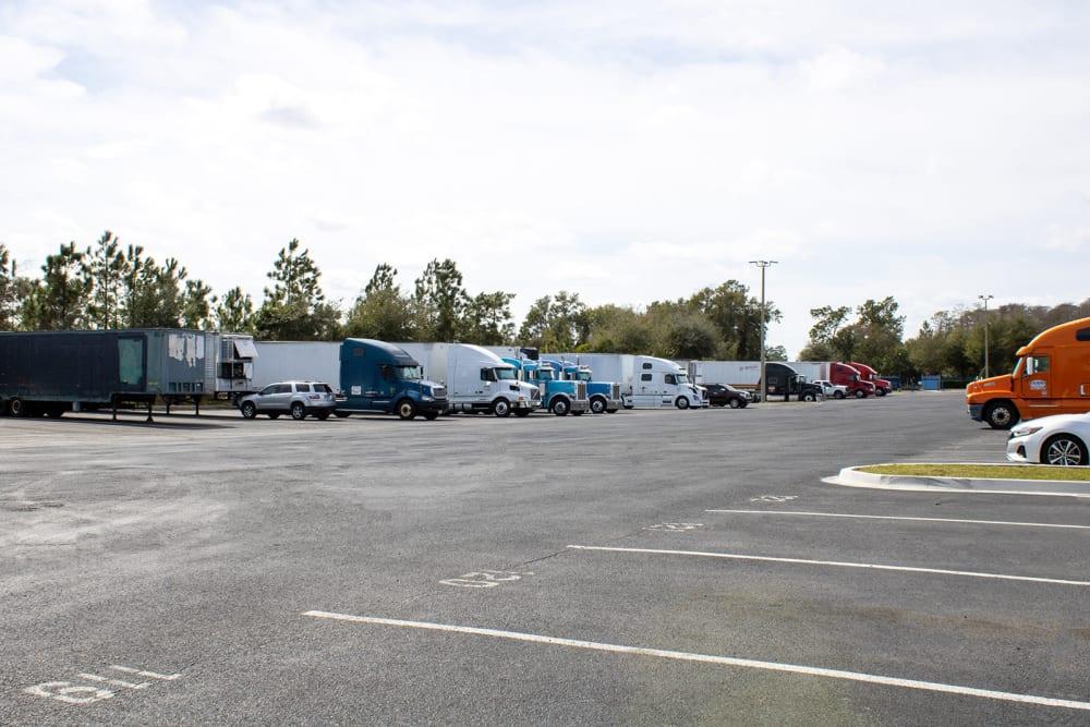 Empty parking spaces at Atlantic Self Storage in Jacksonville, Florida