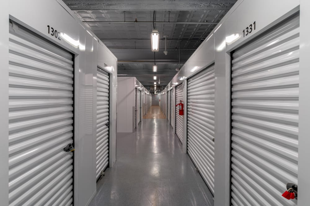 A well lit hallway at StayLock Storage in Charleston, West Virginia