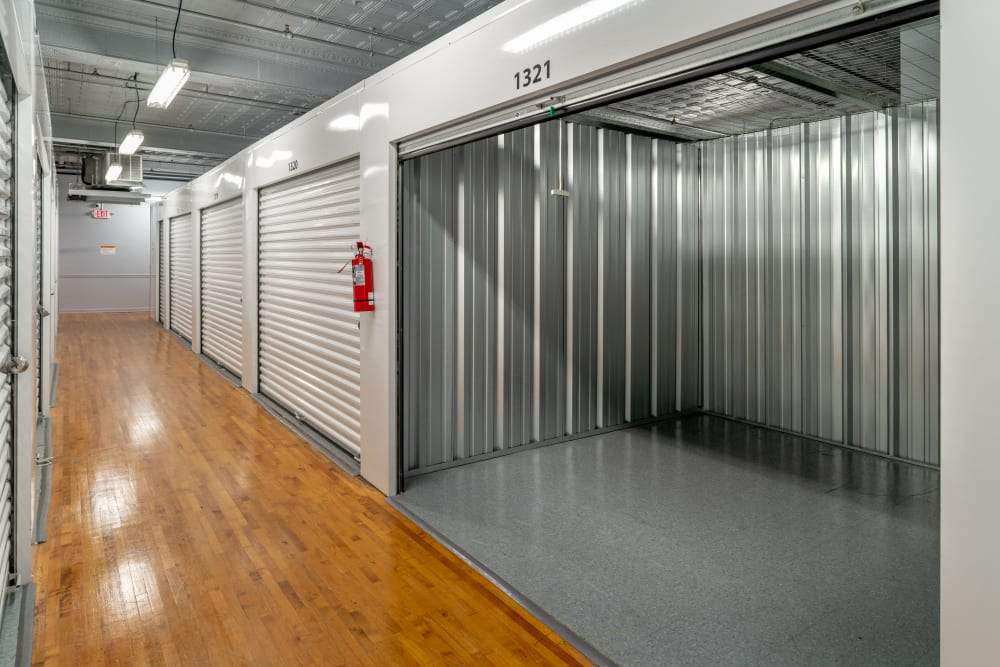 A view inside of a large interior self storage unit at StayLock Storage in Charleston, West Virginia