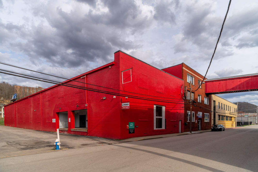 The bright red exterior of StayLock Storage in Charleston, West Virginia
