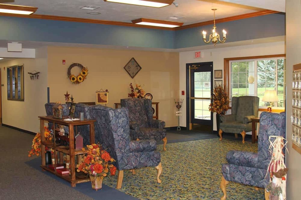 Main entry and comfortable lobby at Holstein Senior Living in Holstein, Iowa.