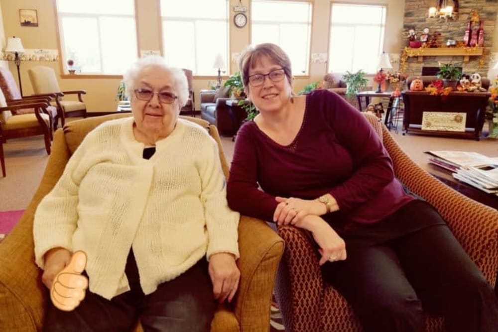 Residents relaxing in lobby at Manning Senior Living in Manning, Iowa.