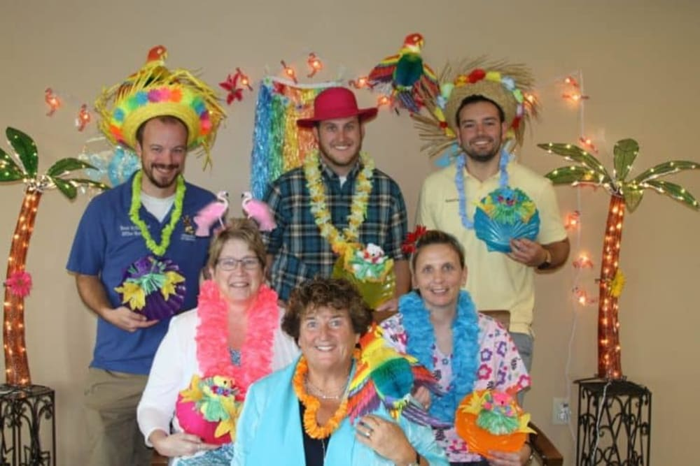 Staff dressing up for festive event at Manning Senior Living in Manning, Iowa.