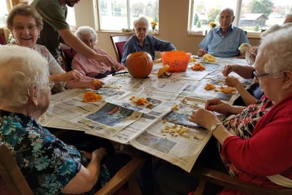 Residents celebrating Halloween at Manning Senior Living in Manning, Iowa.