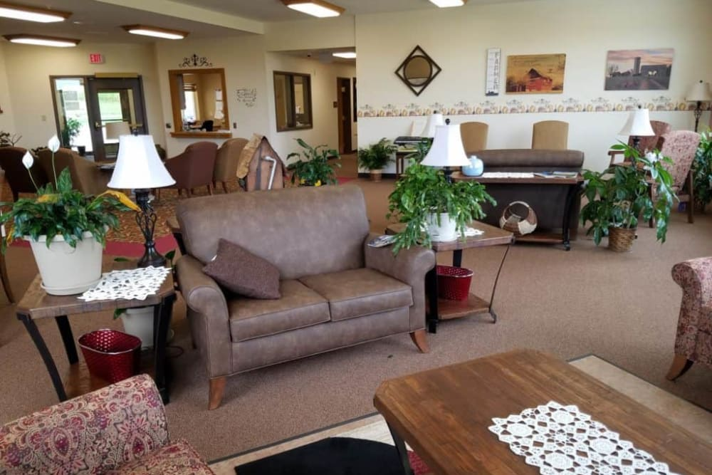 Residents can enjoy comfortable common room at Manning Senior Living in Manning, Iowa.