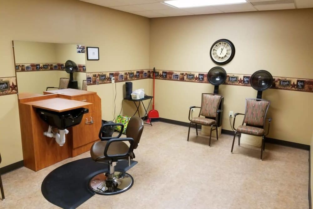 Resident hair salon at Manning Senior Living in Manning, Iowa.