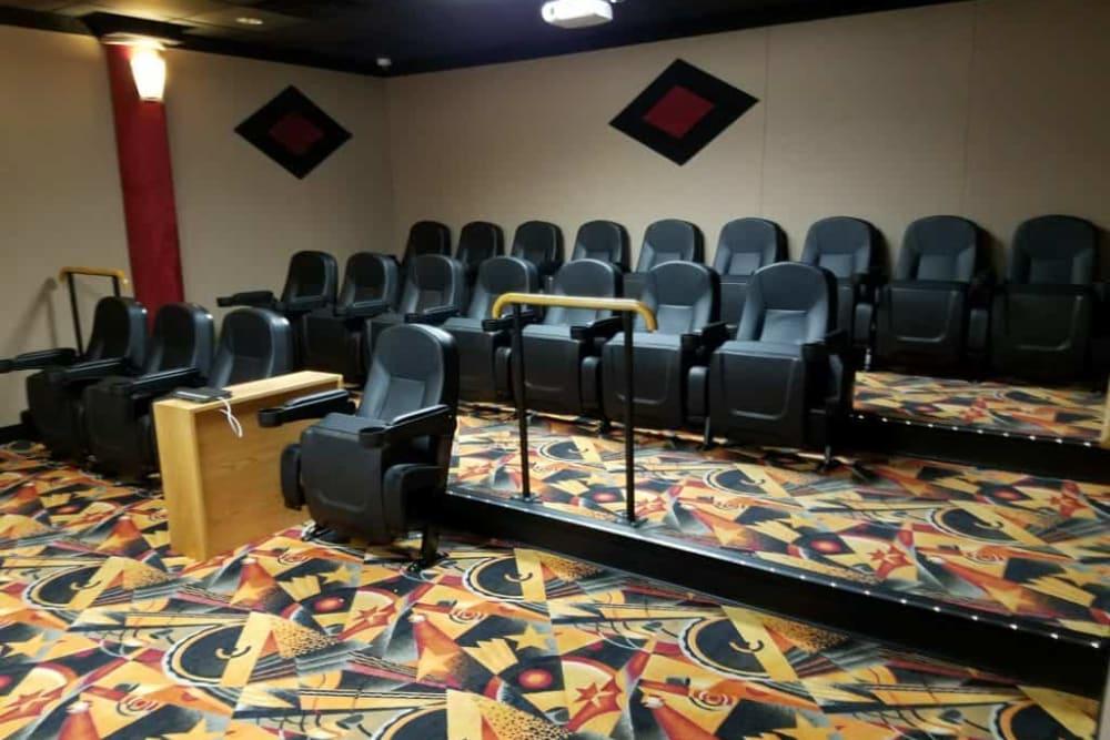 Community theater room at Manning Senior Living in Manning, Iowa.