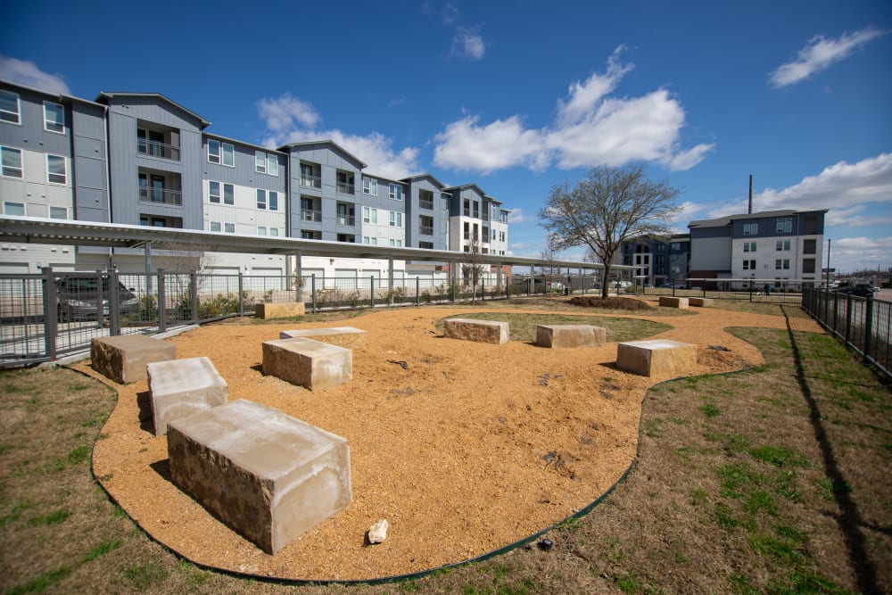Outdoor dog park at Three77 Park in Fort Worth, Texas