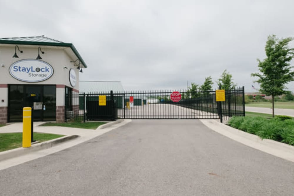Gated entry to StayLock Storage in Pendleton, Indiana