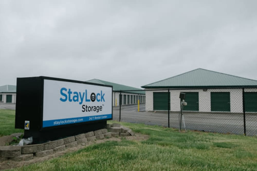 Sign in front of StayLock Storage in Muncie, Indiana