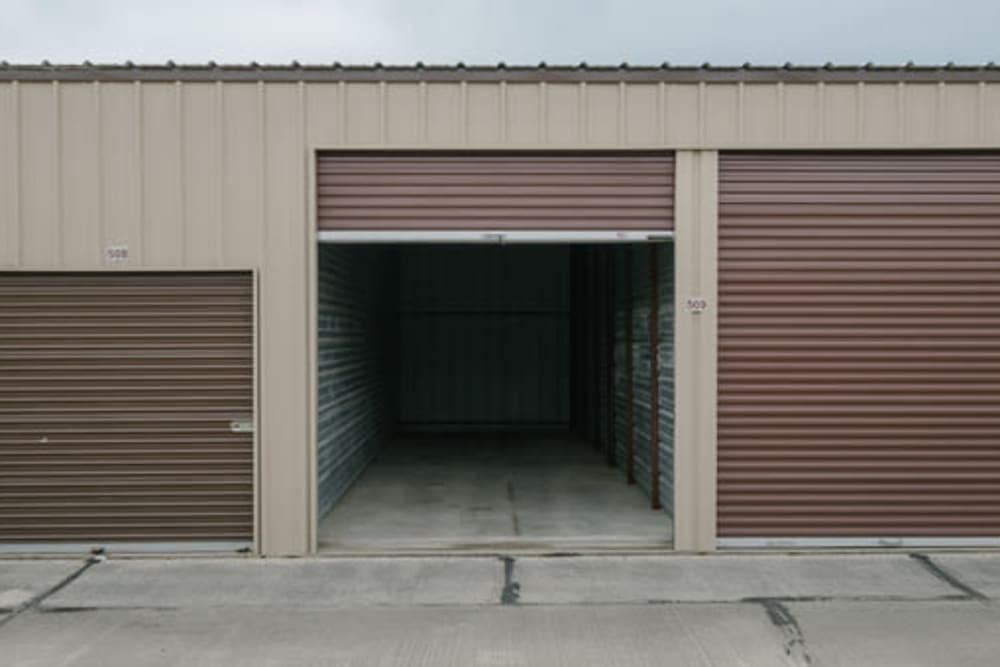 Roll-up doors on self storage units at StayLock Storage in Anderson, Indiana