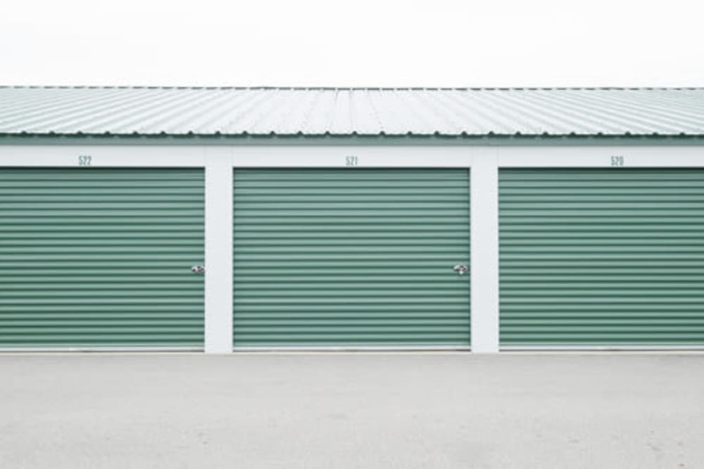 Roll-up doors on self storage units in Shelbyville, Indiana at StayLock Storage