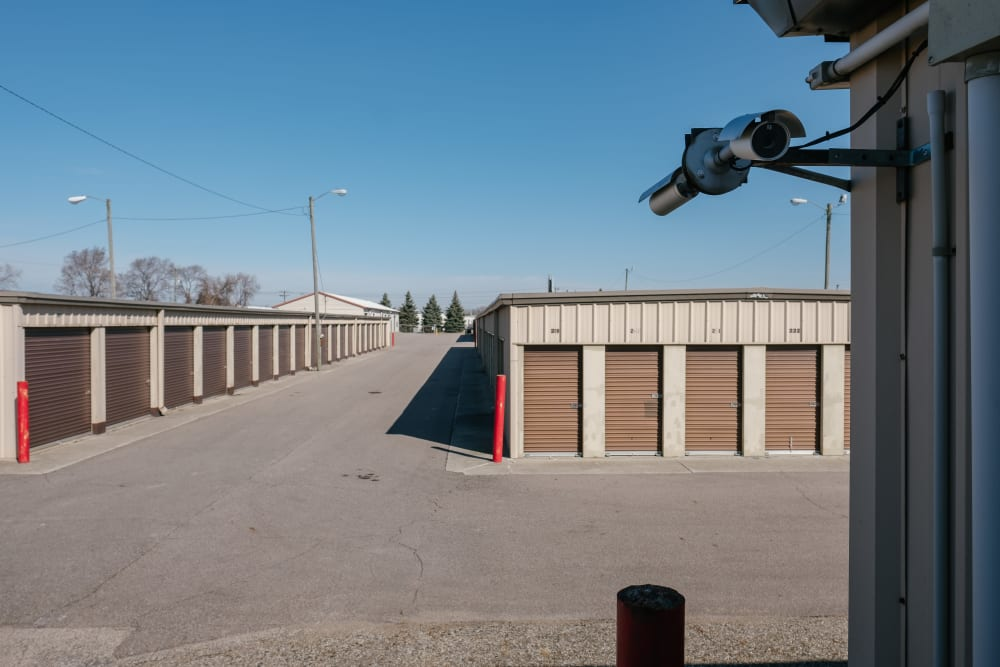 Large open driveways through storage at StayLock Storage in Elkhart, Indiana