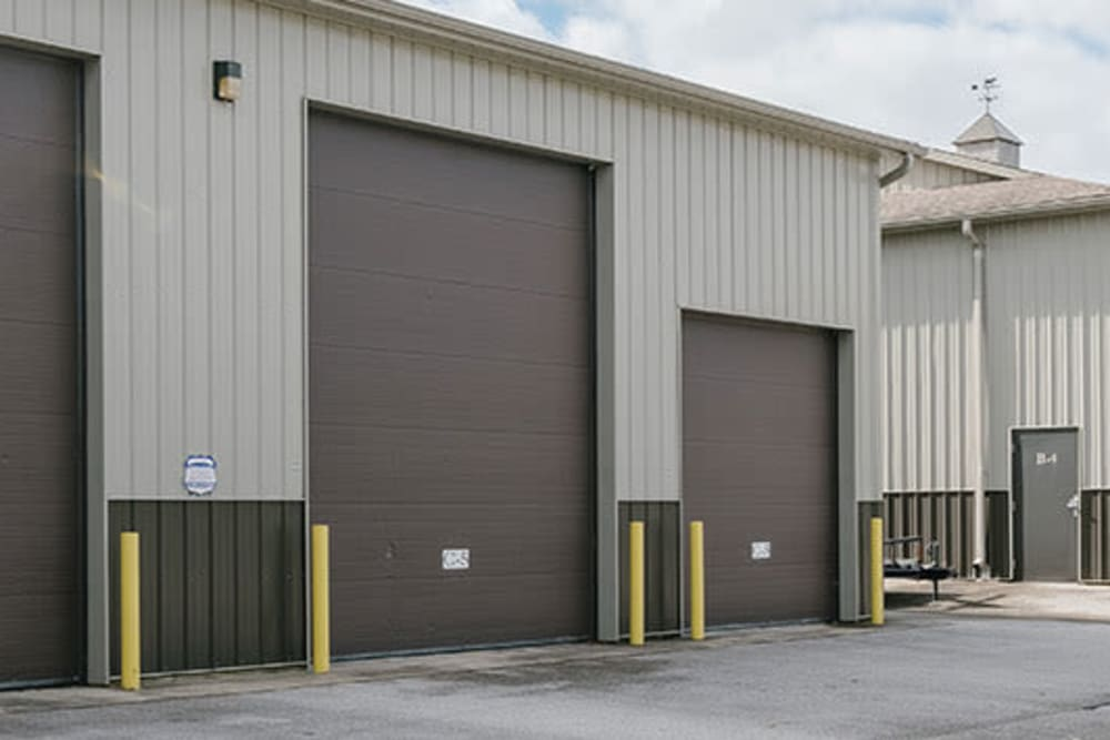 Roll-up doors on self storage units at StayLock Storage in Middlebury, Indiana
