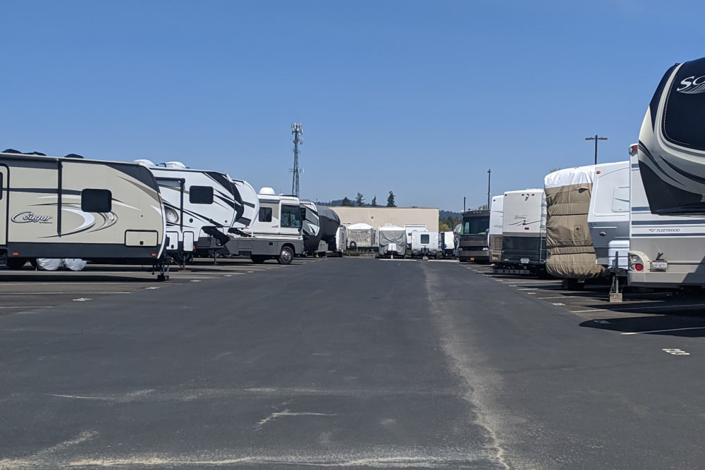 RVs parked for storage during the off season at Canby RV & Boat Storage in Canby, Oregon