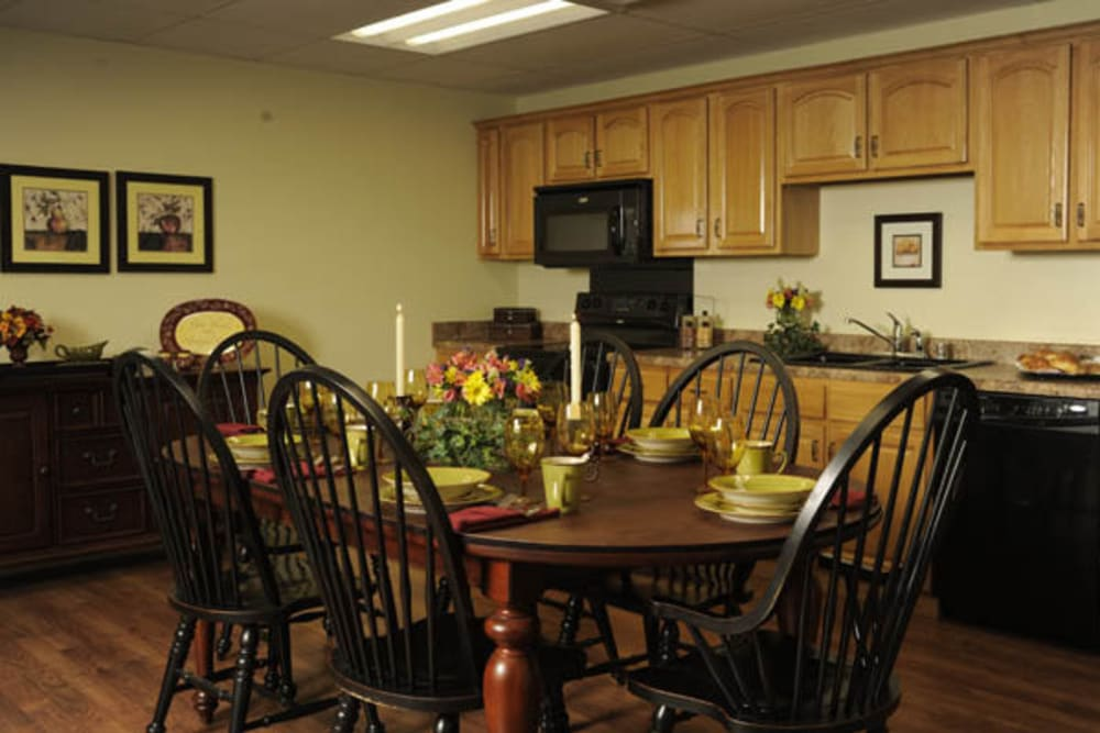 Private dining room and kitchenette at Willow Creek Senior Living in Elizabethtown, Kentucky.