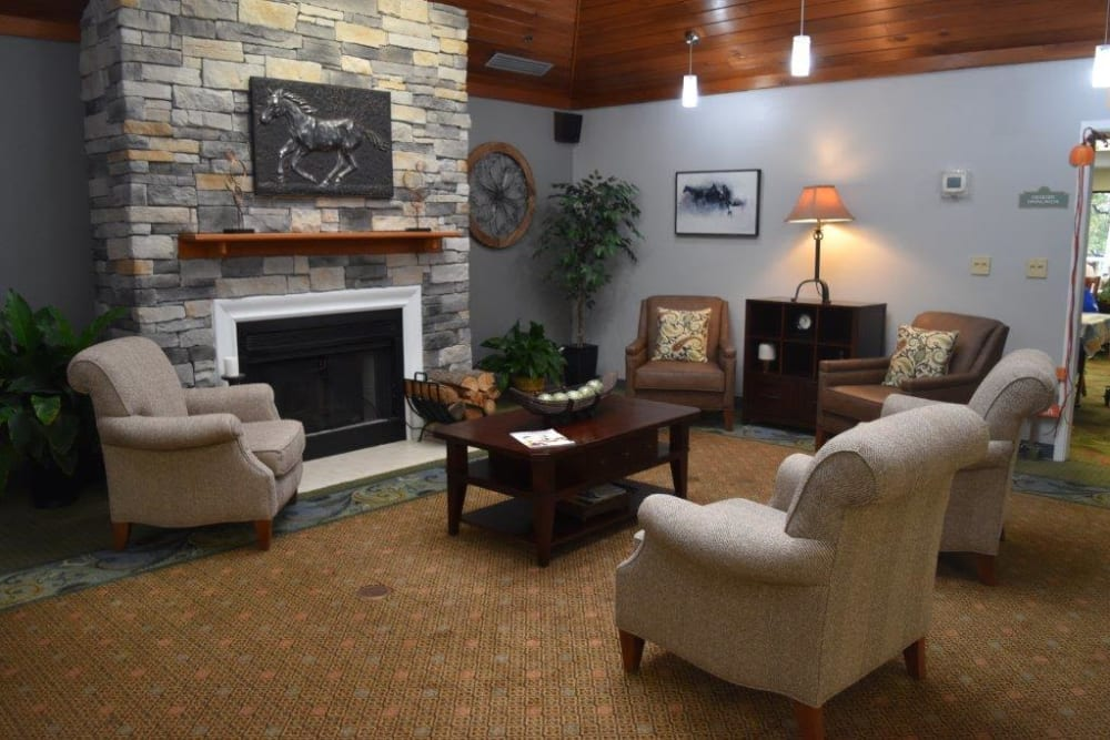 Community room with fireplace at Willow Creek Senior Living in Elizabethtown, Kentucky.