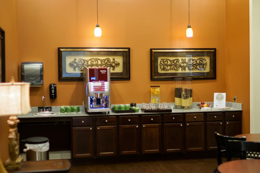 Coffee and snack bar at The Claiborne at Hattiesburg Assisted Living in Hattiesburg, Mississippi