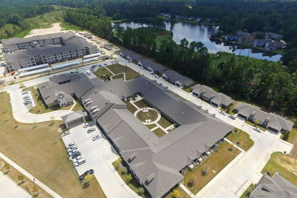 Aerial view of the building at The Claiborne at Hattiesburg Assisted Living in Hattiesburg, Mississippi