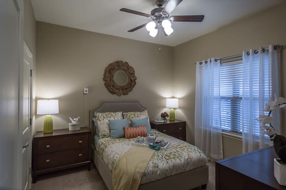 Spacious resident bedroom at Anthology of Plano in Plano, Texas.