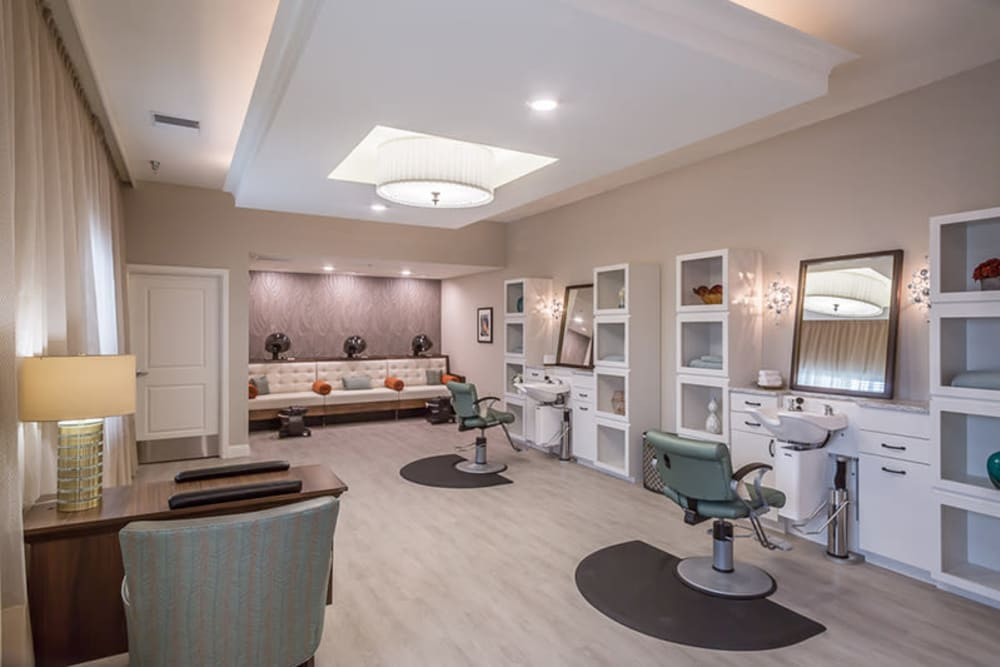 A resident salon at Anthology of Plano in Plano, Texas.