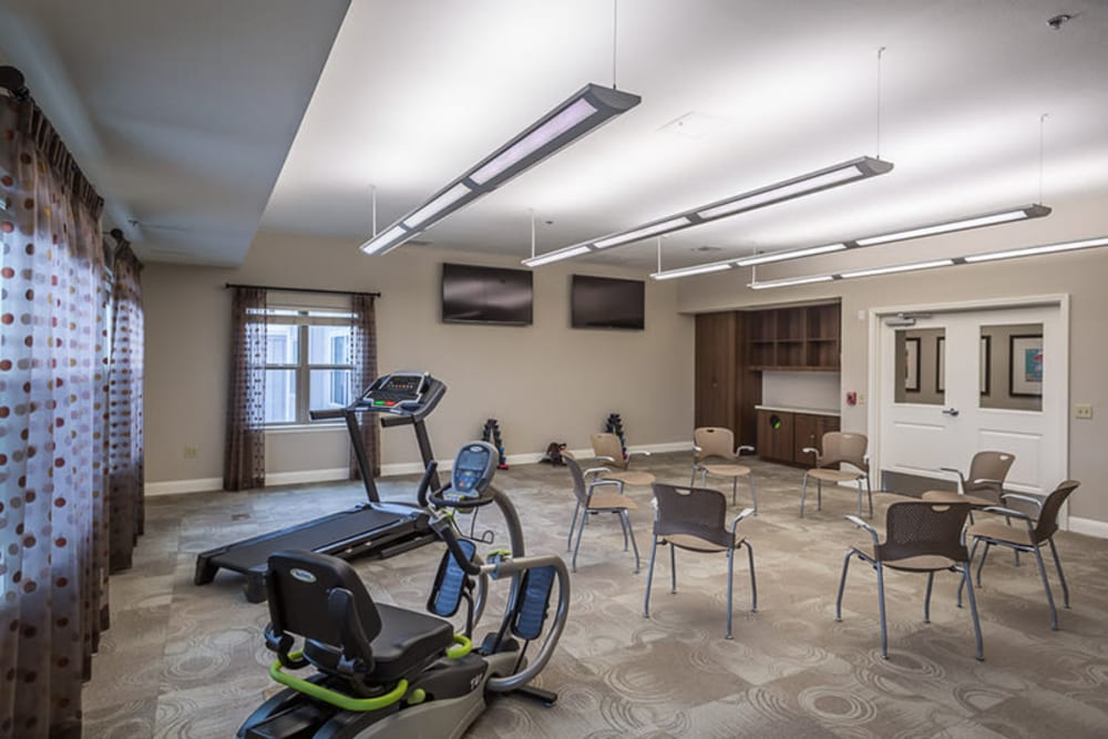 A fitness room at Anthology of Plano in Plano, Texas.