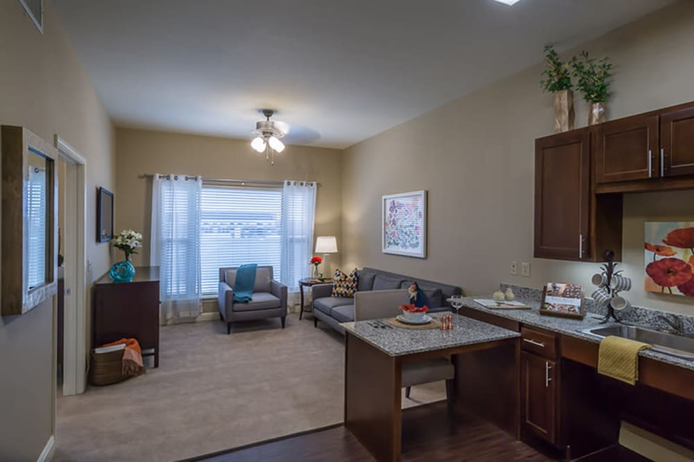 Spacious floor plans with a kitchenette at Anthology of Plano in Plano, Texas.