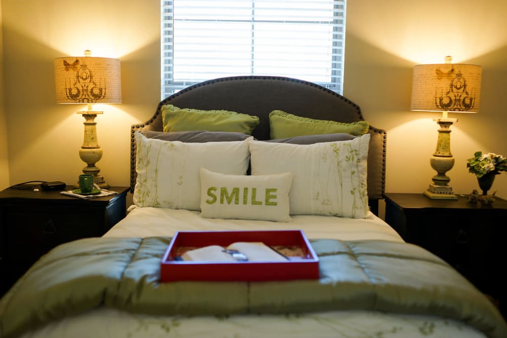 A resident's bedroom at The Claiborne at Hattiesburg Independent Living in Hattiesburg, Mississippi