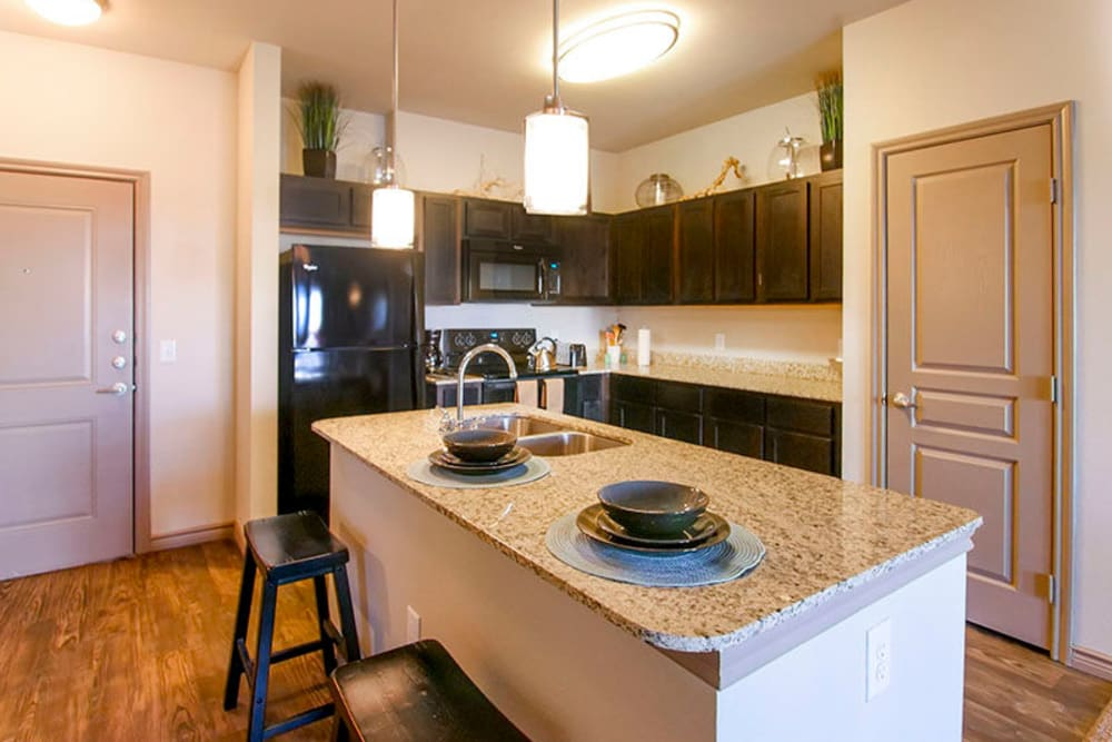 Gourmet kitchen with sleek black appliances in a model home's kitchen at Anatole on Briarwood in Midland, Texas