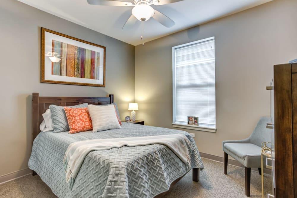Spacious bedroom at Anthology of Wheaton in Wheaton, Illinois.