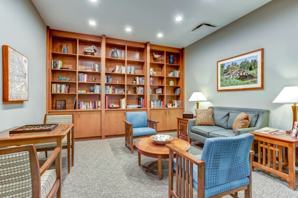 Resident library at Anthology of Wheaton in Wheaton, Illinois.