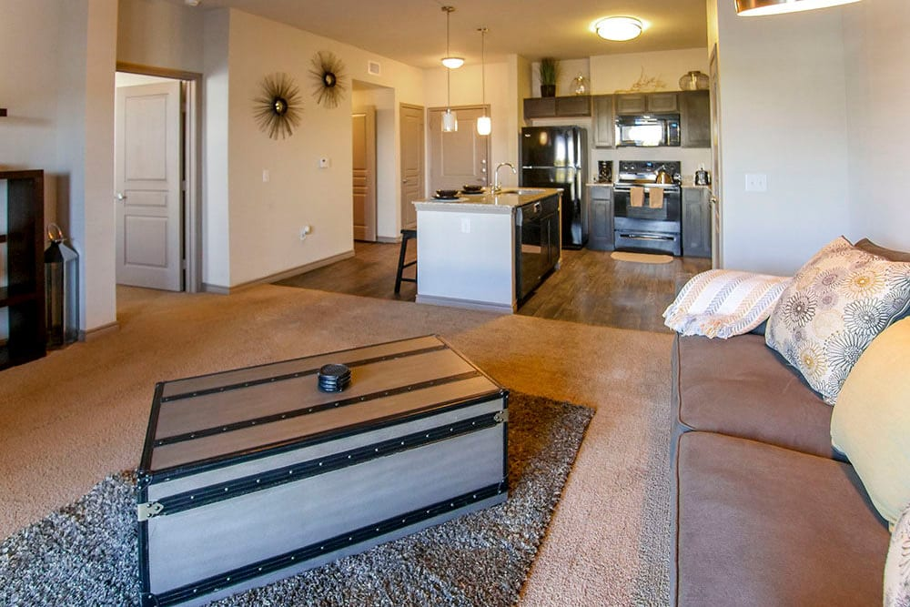 Well-furnished living area in a model home at Anatole on Briarwood in Midland, Texas