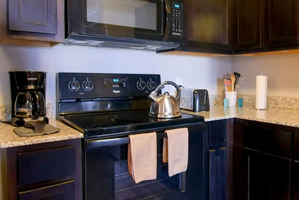 Black appliances and dark wood cabinetry in a model home's kitchen at Anatole on Briarwood in Midland, Texas
