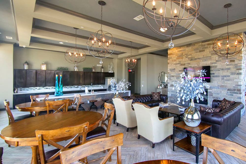Lounge area in the clubhouse at Anatole on Briarwood in Midland, Texas